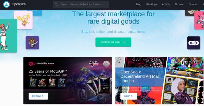 OpenSea - market place para crypto colecionáveis - Criatividade em aplicações Blockchain