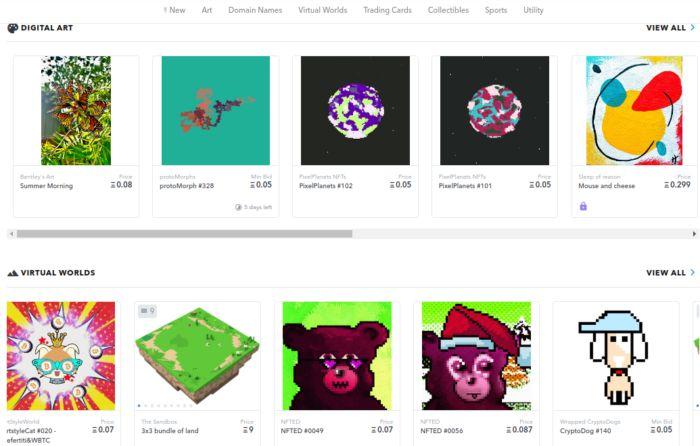 Site Opensea: um canal de vendas de arte NFT muito completo.