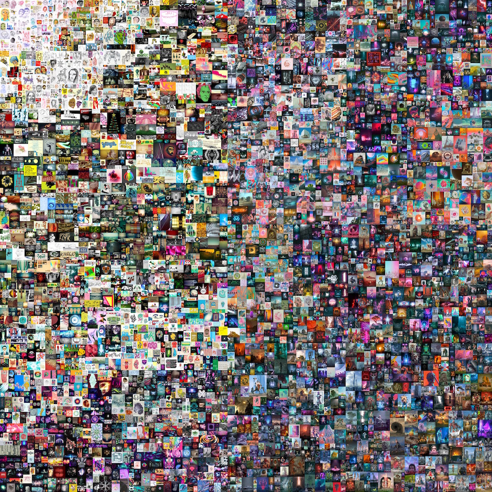 """A arte NFT """"Everydays: The First 5000 Days""""  do artista Beeple foi vendida por mais de U$69 milhões, em Março de 2021."""
