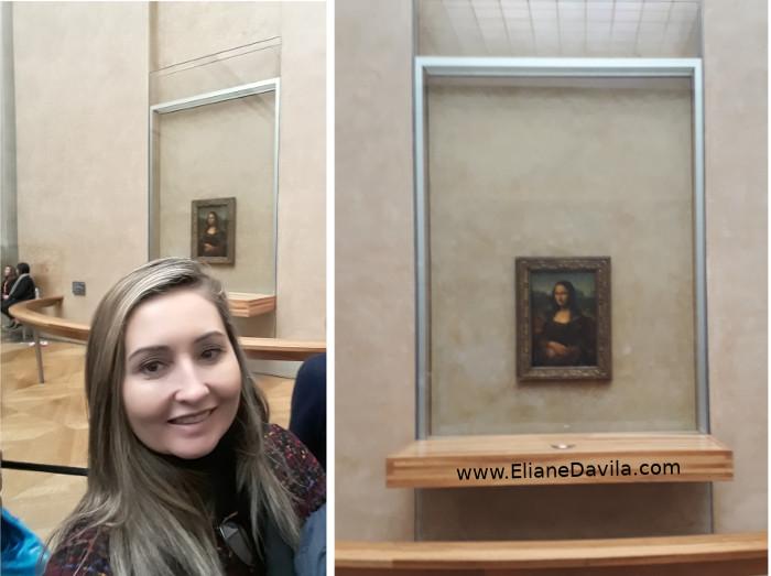 Eliane visitando o quadro original - Mona Lisa de Leonardo Da Vinci - Museu do Louvre em Paris.