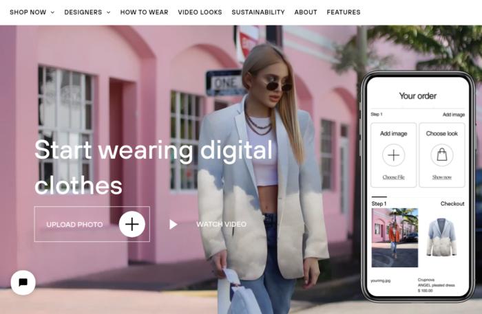 Site da DressX - Roupas digitais para vender.